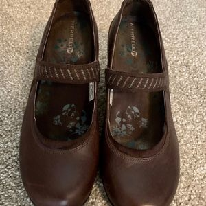MERRELL Brown Leather Wedge Mary Jane Shoes - 10 M